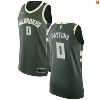 Vendite Maglia NBA Milwaukee Bucks NO.0 Gary Payton II Verde Icon 2017-18