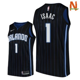 Vendite Maglia NBA Orlando Magic NO.1 Jonathan Isaac Nero Statement 2018