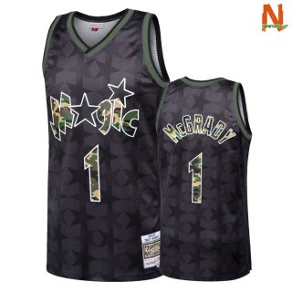 Vendite Maglia NBA Dritto Fire Camo Orlando Magic NO.1 Tracy McGrady Nero 2018
