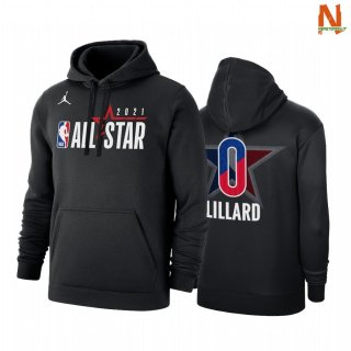 Vendite Felpe Con Cappuccio NBA 2021 All Star NO.0 Damian Lillard Nero