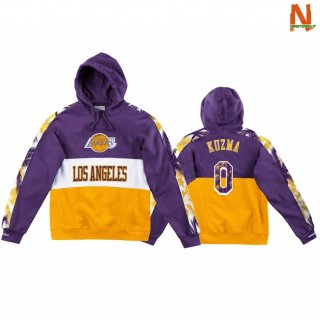 Vendite Felpe Con Cappuccio NBA Los Angeles Lakers NO.0 Kyle Kuzma Púrpura Giallo