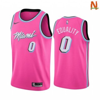 Vendite Maglia NBA Earned Edition Miami Heat NO.0 Meyers Leonard Equality Nike Rosa