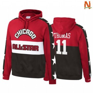 Vendite Felpe Con Cappuccio NBA Detroit Pistons NO.11 Isiah Thomas 1988 All Star Red