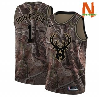 Vendite Maglia NBA Milwaukee Bucks NO.1 Oscar Robertson Camo NBA Swingman Realtree Collection 2018