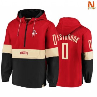 Vendite Felpe Con Cappuccio NBA Houston Rockets NO.0 Russell Westbrook Red Nero