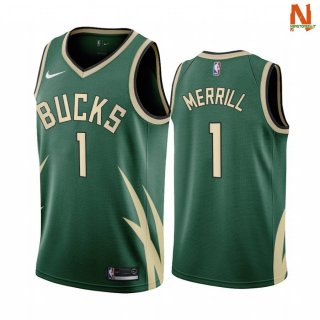 Vendite Maglia NBA Earned Edition Milwaukee Bucks NO.1 Sam Merrill Verde 2020-21