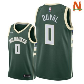 Vendite Maglia NBA Milwaukee Bucks NO.0 Trevon Duval Verde Icon 2018