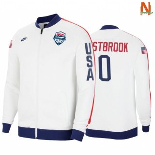 Vendite Giacca NBA Houston Rockets NO.0 Russell Westbrook 2020 Tokyo Olympics Bianco