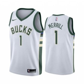 Vendite Maglia NBA Nike Milwaukee Bucks NO.1 Sam Merrill Bianco Association 2020-21