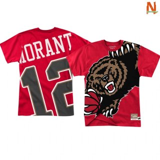 Vendite T-Shirt NBA Memphis Grizzlies Big Face NO.12 Ja Morant Rosso