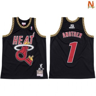 Vendite Maglia NBA Miami Heat NO.1 Another X DJ Khaled Nero Hardwood Classics