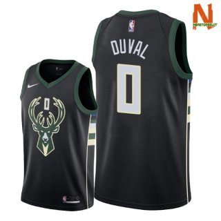 Vendite Maglia NBA Milwaukee Bucks NO.0 Trevon Duval Nero Statement 2018