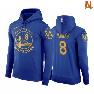 Vendite Felpe Con Cappuccio NBA Golden State Warriors NO.8 Alec Burks Blu