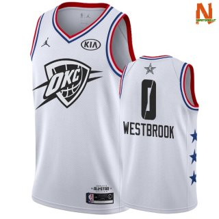 Vendite Maglia NBA 2019 All Star NO.0 Russell Westbrook Bianco