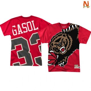 Vendite T-Shirt NBA Memphis Grizzlies Big Face NO.33 Marc Gasol Rosso
