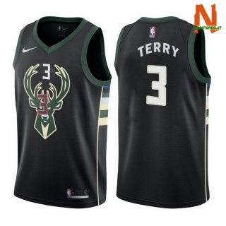 Vendite Maglia NBA Milwaukee Bucks NO.3 Jason Terry Nero Statement 2017-18