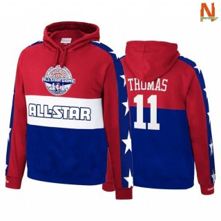 Vendite Felpe Con Cappuccio NBA Detroit Pistons NO.11 Isiah Thomas 1988 All Star Red Marino