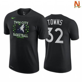 Vendite T-Shirt NBA Minnesota Timberwolves NO.32 Karl Anthony Towns Story Nero Città 2020-21