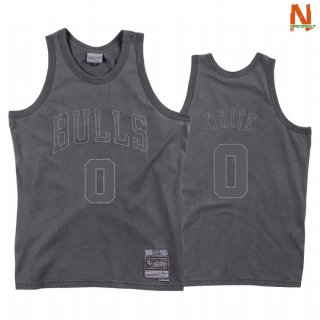 Vendite Maglia NBA Chicago Bulls NO.0 Coby White Washed Out Grigio Hardwood Classics 2020