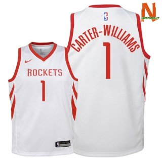 Vendite Maglia NBA Bambini Houston Rockets NO.1 Michael Carter Williams Bianco Association 2018