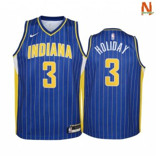 Vendite Maglia NBA Bambini Indiana Pacers NO.3 Aaron Holiday Blu Città 2020-21