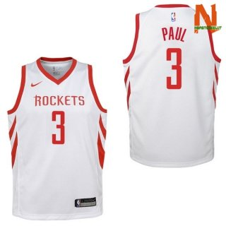 Vendite Maglia NBA Bambini Houston Rockets NO.3 Chris Paul Bianco Association 2017-18