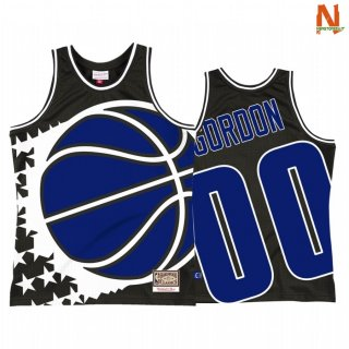 Vendite Maglia NBA Orlando Magic NO.00 Aaron Gordon Big Face 2 Nero Hardwood Classics