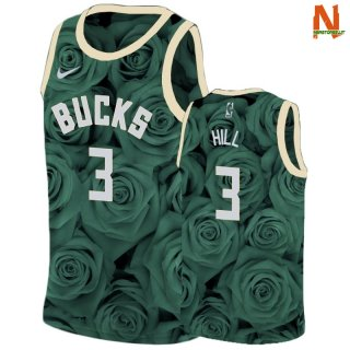 Vendite Maglia NBA Nike Milwaukee Bucks NO.3 George Hill Verde