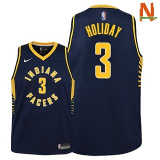 Vendite Maglia NBA Bambini Indiana Pacers NO.3 Aaron Holiday Marino Icon 2018-19