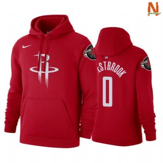 Vendite Felpe Con Cappuccio NBA Houston Rockets NO.0 Russell Westbrook Red Icon 2019-20