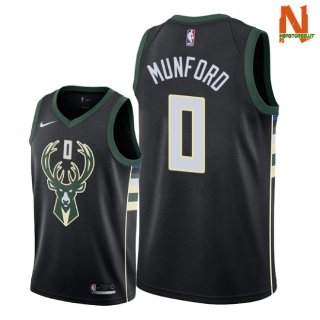Vendite Maglia NBA Milwaukee Bucks NO.0 Xavier Munford Nero Statement 2018