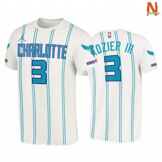 Vendite T-Shirt NBA Charlotte Hornets NO.3 Terry Rozier III Double Pinstripes Bianco Association 2020-21