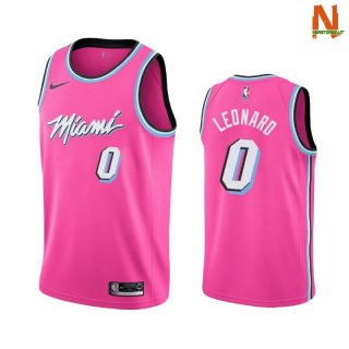 Vendite Maglia NBA Earned Edition Miami Heat NO.0 Meyers Leonard Nike Rosa 2019-20