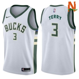 Vendite Maglia NBA Milwaukee Bucks NO.3 Jason Terry Bianco Association 2017-18