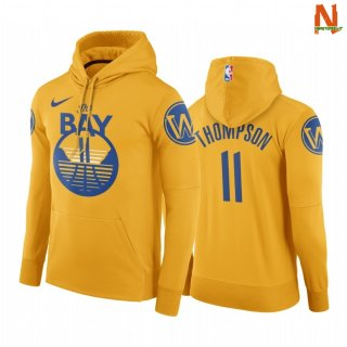 Vendite Felpe Con Cappuccio NBA Golden State Warriors NO.11 Kaly Thompson Oro