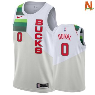Vendite Maglia NBA Earned Edition Milwaukee Bucks NO.0 Trevon Duval Bianco 2018-19