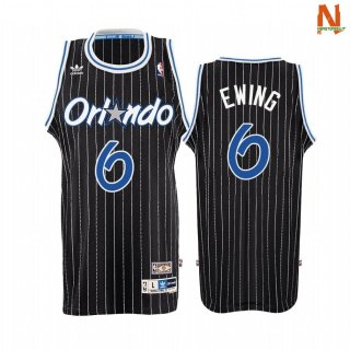 Vendite Maglia NBA Orlando Magic NO.0 Patrick Ewing Nero Throwback