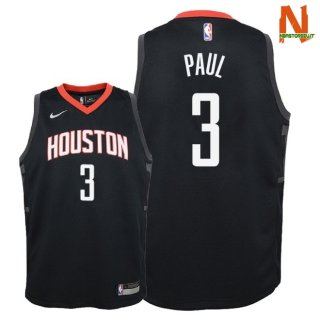 Vendite Maglia NBA Bambini Houston Rockets NO.3 Chris Paul Nero Statement 2018