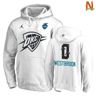 Vendite Felpe Con Cappuccio 2019 All Star Oklahoma City Thunder NO.0 Russell Westbrook Bianco