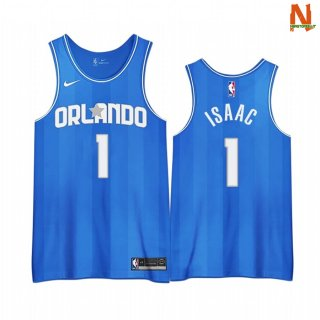 Vendite Maglia NBA Earned Edition Orlando Magic NO.1 Jonathan Isaac Blu 2020-21