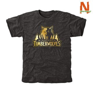 Vendite T-Shirt NBA Minnesota Timberwolves Nero Oro