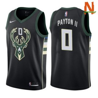 Vendite Maglia NBA Milwaukee Bucks NO.0 Gary Payton II Nero Statement 2017-18