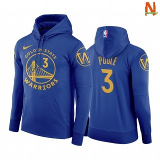 Vendite Felpe Con Cappuccio NBA Golden State Warriors NO.3 Jordan Poole Blu