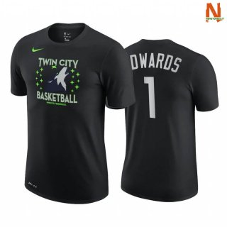Vendite T-Shirt NBA Minnesota Timberwolves NO.1 Anthony Edwards Story Nero Città 2020-21