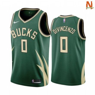 Vendite Maglia NBA Earned Edition Milwaukee Bucks NO.0 Donte DiVinocenzo Verde 2020-21
