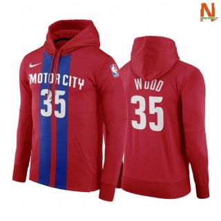 Vendite Felpe Con Cappuccio NBA Detroit Pistons NO.35 Christian Wood Red Blu Città 2019-20