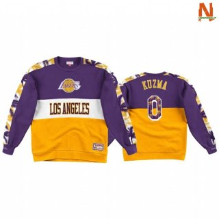 Vendite Felpe Con Cappuccio NBA Los Angeles Lakers NO.0 Kyle Kuzma Oroo Porpora Throwback