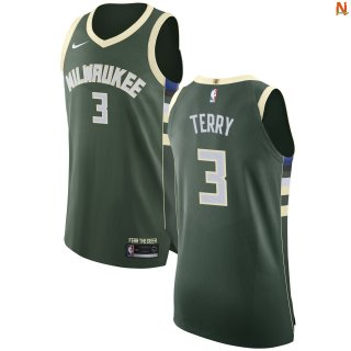 Vendite Maglia NBA Milwaukee Bucks NO.3 Jason Terry Verde Icon 2017-18