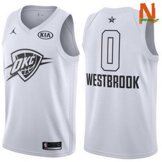 Vendite Maglia NBA 2018 All Star NO.0 Russell Westbrook Bianco