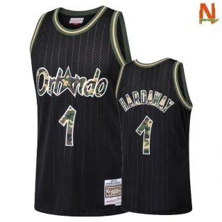 Vendite Maglia NBA Dritto Fire Camo Orlando Magic NO.1 Penny Hardaway Nero 2018